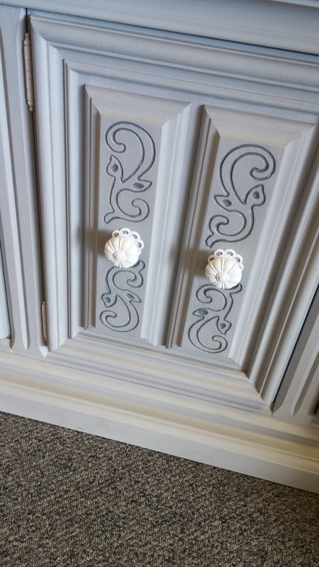 close up of restyled furniture doors